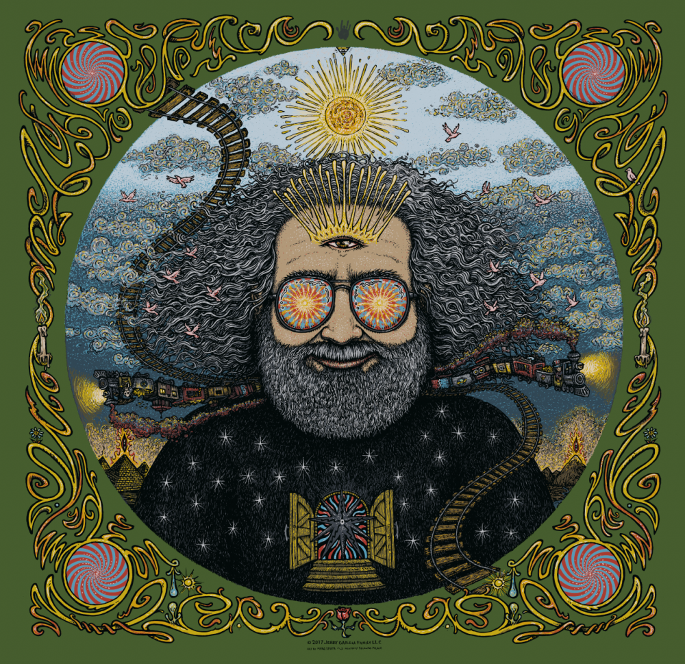 Jerry Garcia Bicycle Day Print - Green