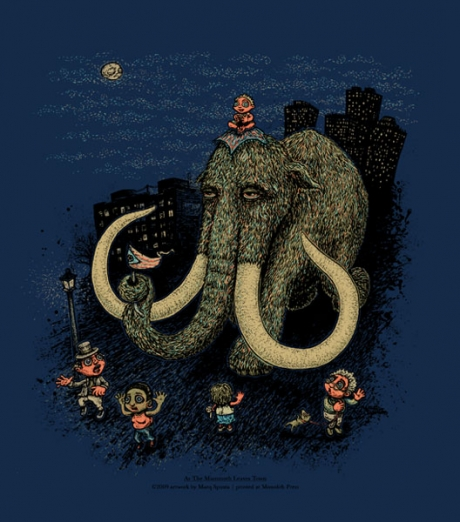 As the Mammoth Leaves Town screen print