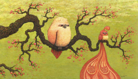 Branch with Birds acrylic on panel