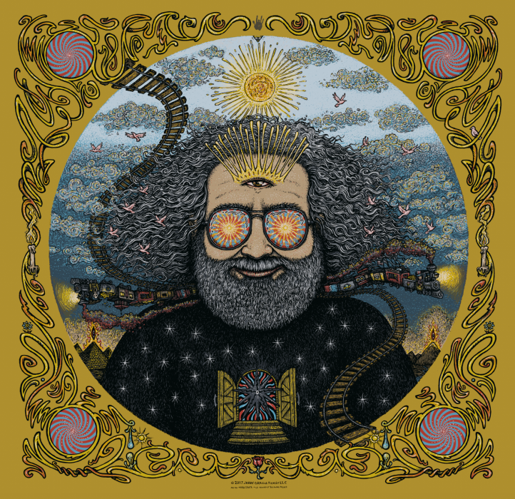 Jerry Garcia Bicycle Day Print- Gold