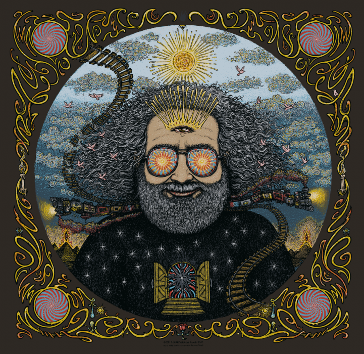 Jerry Garcia Bicycle Day Print - Black