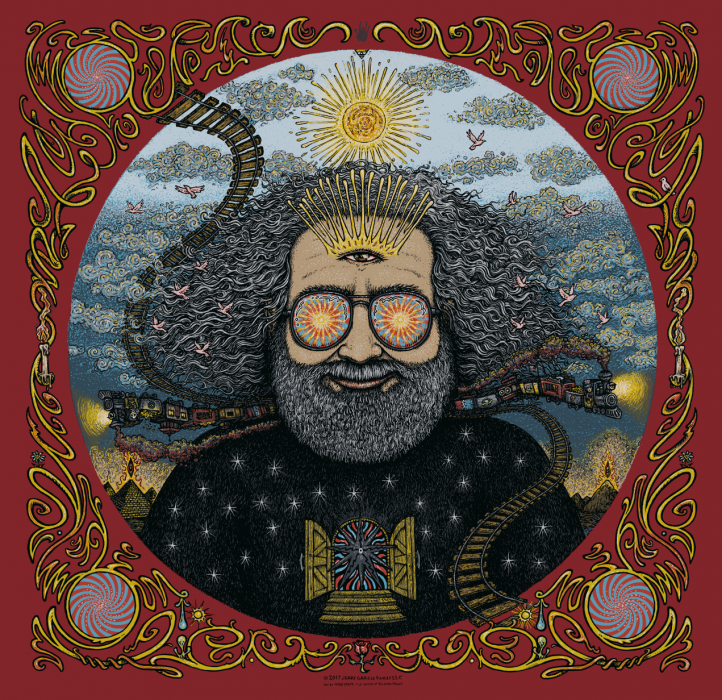 Jerry Garcia Bicycle Day Print - Red
