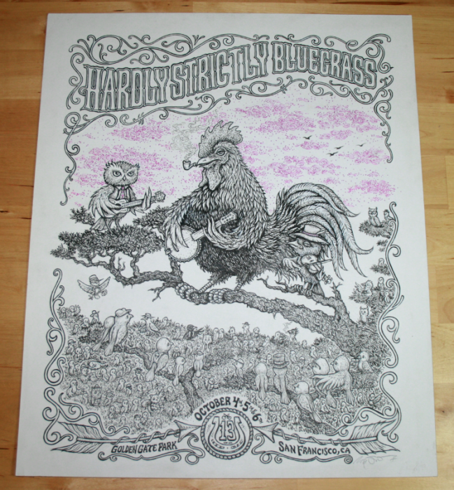 Hardly Strictly Bluegrass Poster Original Ink.