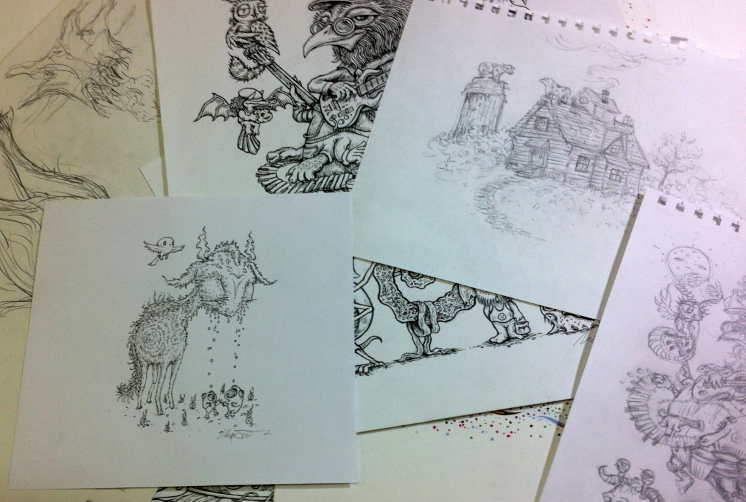 A pile of drawings by Marq Spusta
