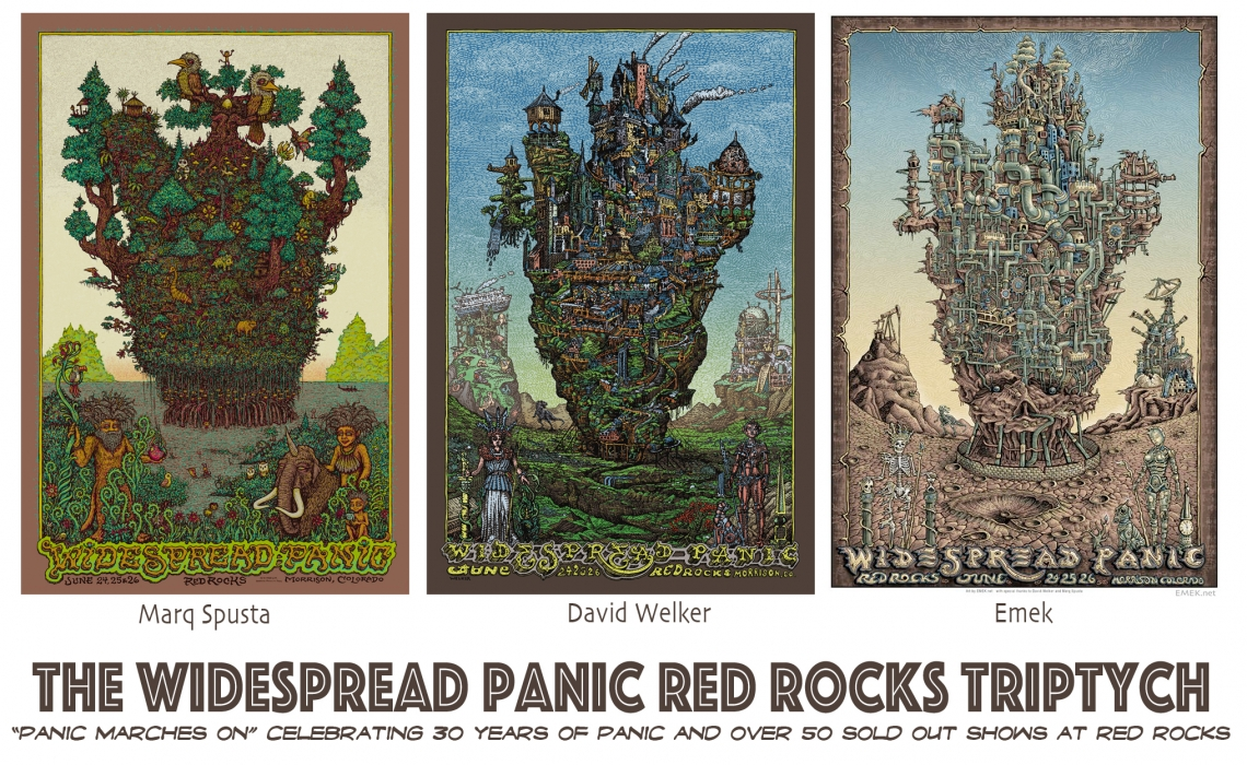 Panic Red Rocks Triptych.