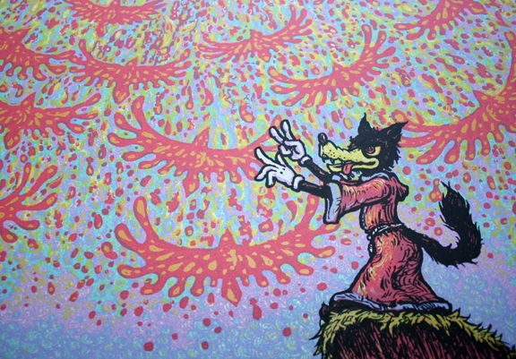 Close-up of Wolf\'s Symphony screen print